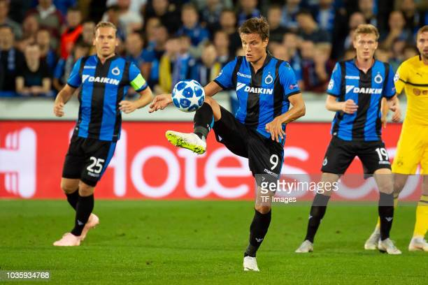 Jelle Vossen of Club Brugge controls the ball during the UEFA Champions League Group A match between Club Brugge and Borussia Dortmund at Jan Breydel...