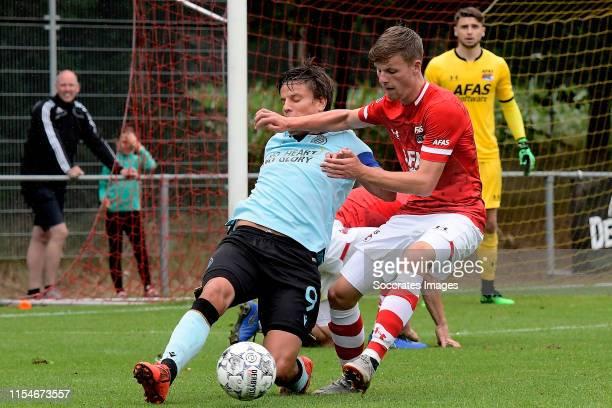 Jelle Vossen of Club Brugge Jeremy Helmer of AZ Alkmaar during the match between AZ Alkmaar v Club Brugge at the Sportpark De Westeneng on July 6...