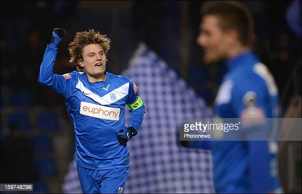 Jelle Vossen of Genk in action during the Jupiler League match between KRC Genk and RCSC Sporting Charleroi on January 19 2013 in Genk Belgium