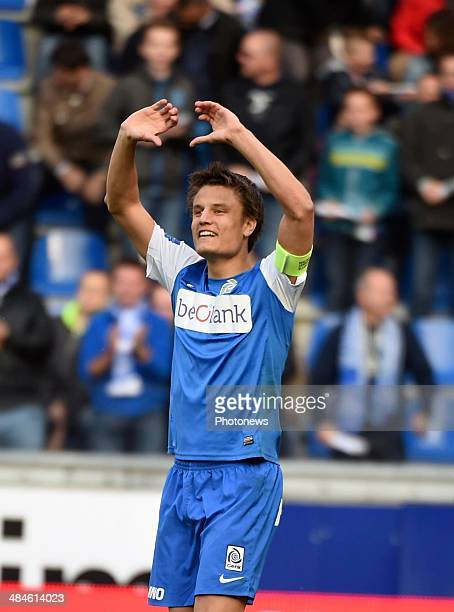 Jelle Vossen of KRC Genk celebrates after scoring during the Jupiler Pro League Play Off 1 match between KRC Genk and Standard de Liege in the...