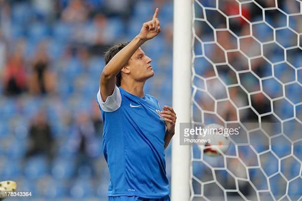 Jelle Vossen of KRC Genk of KRC Genk celebrates his goal during the second leg playoff UEFA Europa League match between KRC Genk and FH Hafnarfjordur...