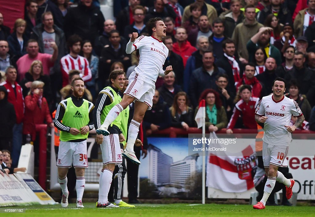 Jelle Vossen of Middlesbrough celebrates as he scores their first goal during the Sky Bet Championship Playoff semi-final first leg match between Brentford and Middlesbrough at Griffin Park on May 8, 2015 in Brentford, England.