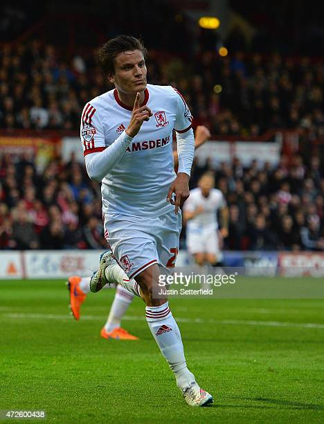 Jelle Vossen of Middlesbrough celebrates scoring the first goal during the Sky Bet Championship Playoff SemiFinal between Brentford and Middlesbrough...