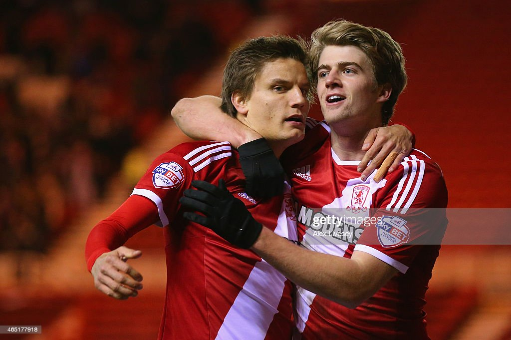 Jelle Vossen of Middlesbrough celebrates scoring their third goal with Patrick Bamford of Middlesbrough during the Sky Bet Championship match between Middlesbrough and Millwall at Riverside Stadium on March 3, 2015 in Middlesbrough, England.