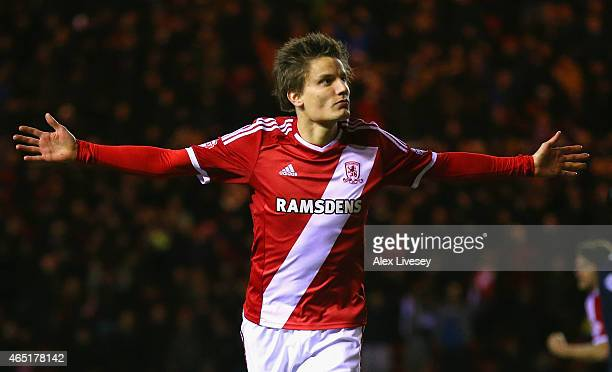 Jelle Vossen of Middlesbrough celebrates scoring their third goal during the Sky Bet Championship match between Middlesbrough and Millwall at...