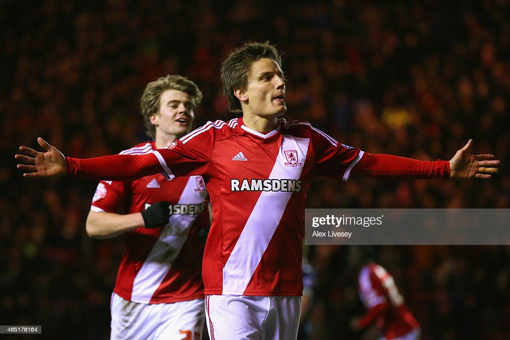 Jelle Vossen of Middlesbrough celebrates scoring their third goal during the Sky Bet Championship match between Middlesbrough and Millwall at Riverside Stadium on March 3, 2015 in Middlesbrough, England.