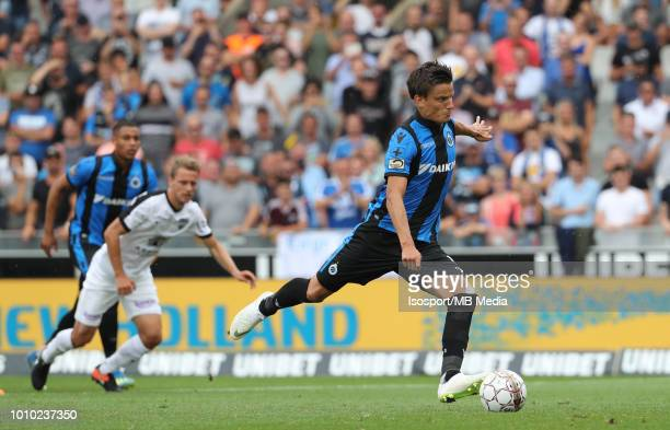 Jelle Vossen scores a penalty during the Jupiler Pro League match between Club Brugge and KAS Eupen at Jan Breydel Stadium on July 29 2018 in Brugge...