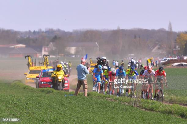 Jelle Wallays of Belgium and Team Lotto Soudal / Silvan Dillier of Swiss and Team AG2R La Mondiale / during the 116th Paris Roubaix 2018 a 257km race...