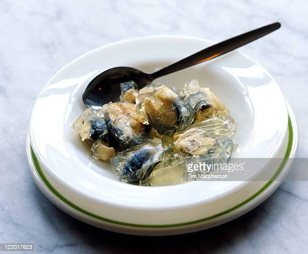 Jellied eels with spoon