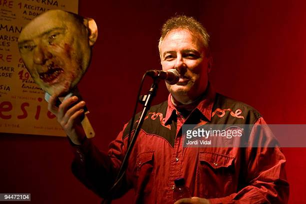 Jello Biafra performs on stage with a mask of Italian Prime Minister Silvio Berlusconi at Heliogabal on December 14 2009 in Barcelona Spain