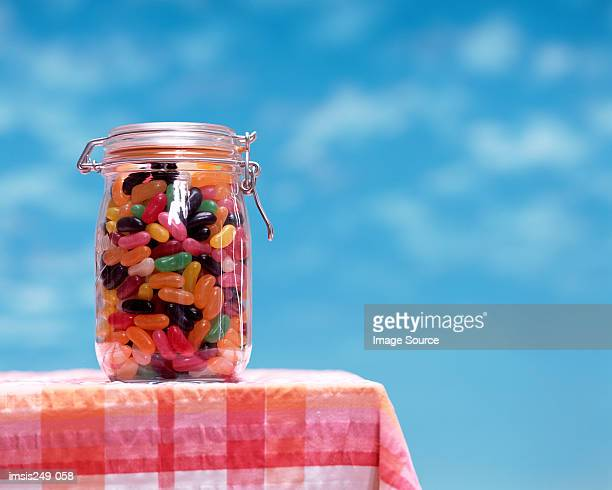 Jelly bean sweets in jar