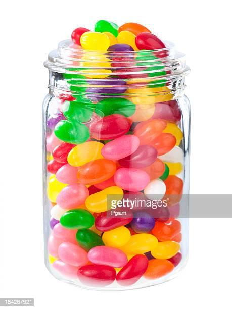 Jelly beans in einem Gefäß