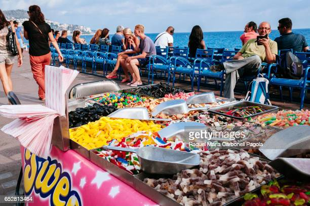 Jellybeans and candies for sale in a street stall on Promenade des Anglais