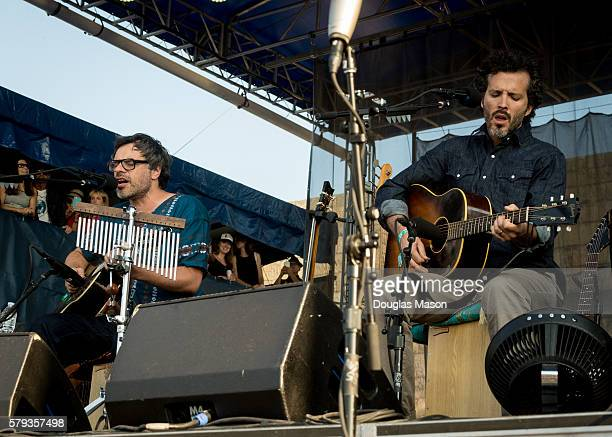 Jemaine Clement and Bret McKenzie of Flight of the Conchords perform during the Newport Folk Festival at Fort Adams State Park on July 22 2016 in...