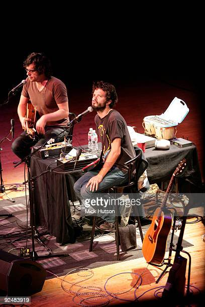 Jemaine Clement and Bret McKenzie of Flight Of The Conchords perform on stage at the Orpheum Theater on June 1st 2008 in Los Angeles California