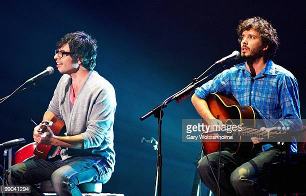 Jemaine Clement and Bret McKenzie of Flight Of The Conchords perform on stage at Manchester Apollo on May 11 2010 in Manchester England