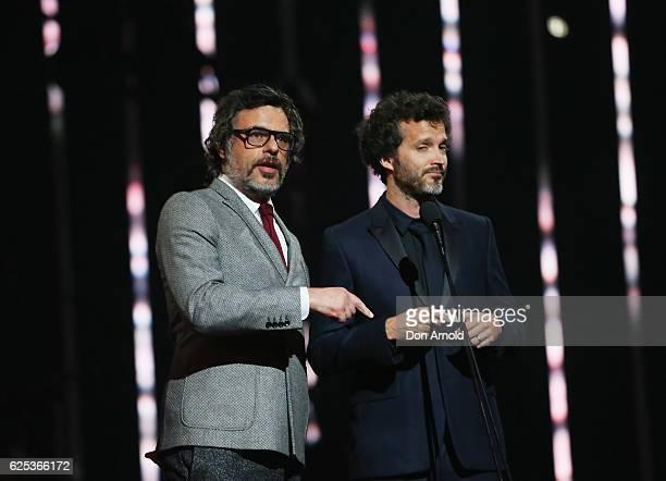 Jemaine Clement and Bret McKenzie present during the 30th Annual ARIA Awards 2016 at The Star on November 23 2016 in Sydney Australia