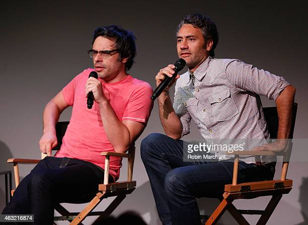 Jemaine Clement and Taika Waititi attend The Apple Store Soho Presents Meet the Filmmakers Jemaine Clement and Taika Waititi 'What We Do in the...
