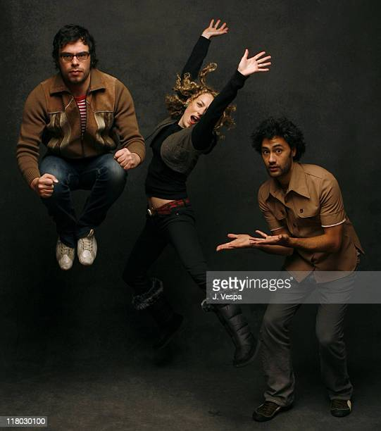 Jemaine Clement Loren Horsley and Taika Waititi during 2007 Sundance Film Festival 'Eagle vs Shark' Portraits at Delta Sky Lodge in Park City Utah...