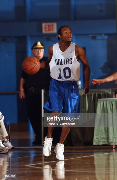 Jemeil Rich of the Dallas Mavericks handles the ball during the Reebok Pro Summer League against the New Jersey Nets at the Clark Athletic Center on...