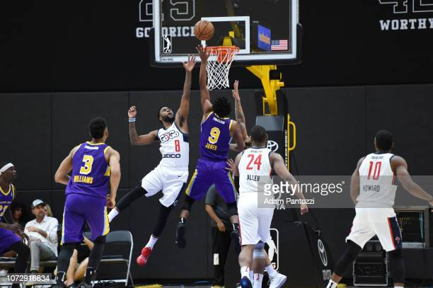 d7f369080 Jemerrio Jones of the South Bay Lakers goes to the basket against the  Capital City GoGo