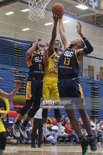 fe872091e Jemerrio Jones of the South Bay Lakers goes up for the rebound against  Isaiah Cousins and