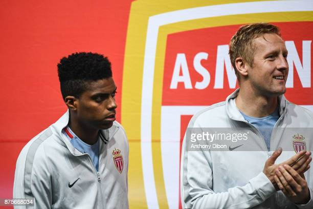 Jemerson and Kamil Glik of Monaco during the Ligue 1 match between Amiens SC and AS Monaco at Stade de la Licorne on November 17 2017 in Amiens