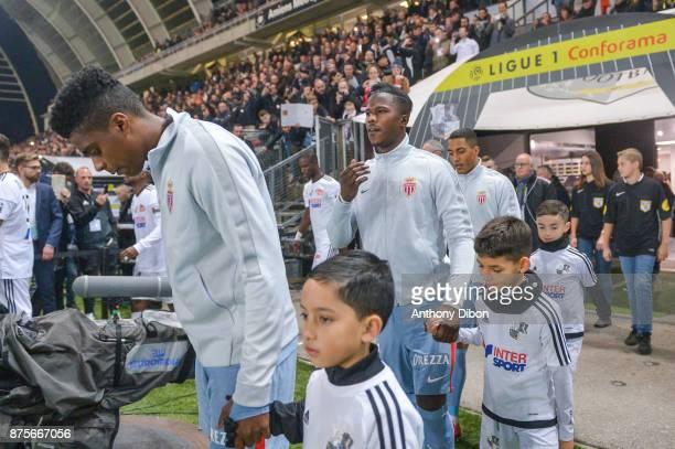 Jemerson Keita Balde and Youri Tielemans of Monaco during the Ligue 1 match between Amiens SC and AS Monaco at Stade de la Licorne on November 17...