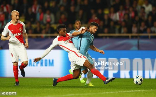 Jemerson of AS Monaco tackles Sergio Aguero of Manchester City during the UEFA Champions League Round of 16 second leg match between AS Monaco and...