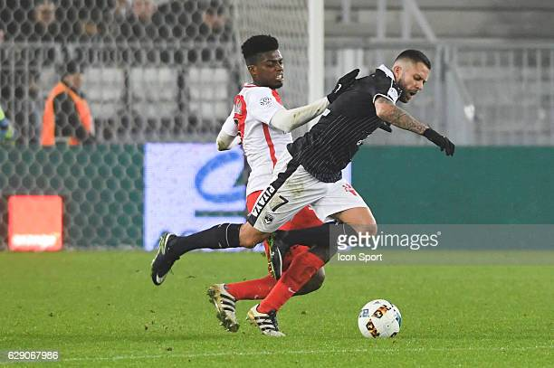 Jemerson of Monaco and Jeremy Menez of Bordeaux during the French Ligue 1 match between Bordeaux and Monaco at Nouveau Stade de Bordeaux on December...