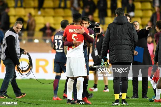 Jemerson of Monaco and Thiago Silva of Psg during the Ligue 1 match between AS Monaco and Paris SaintGermain at Stade Louis II on November 26 2017 in...