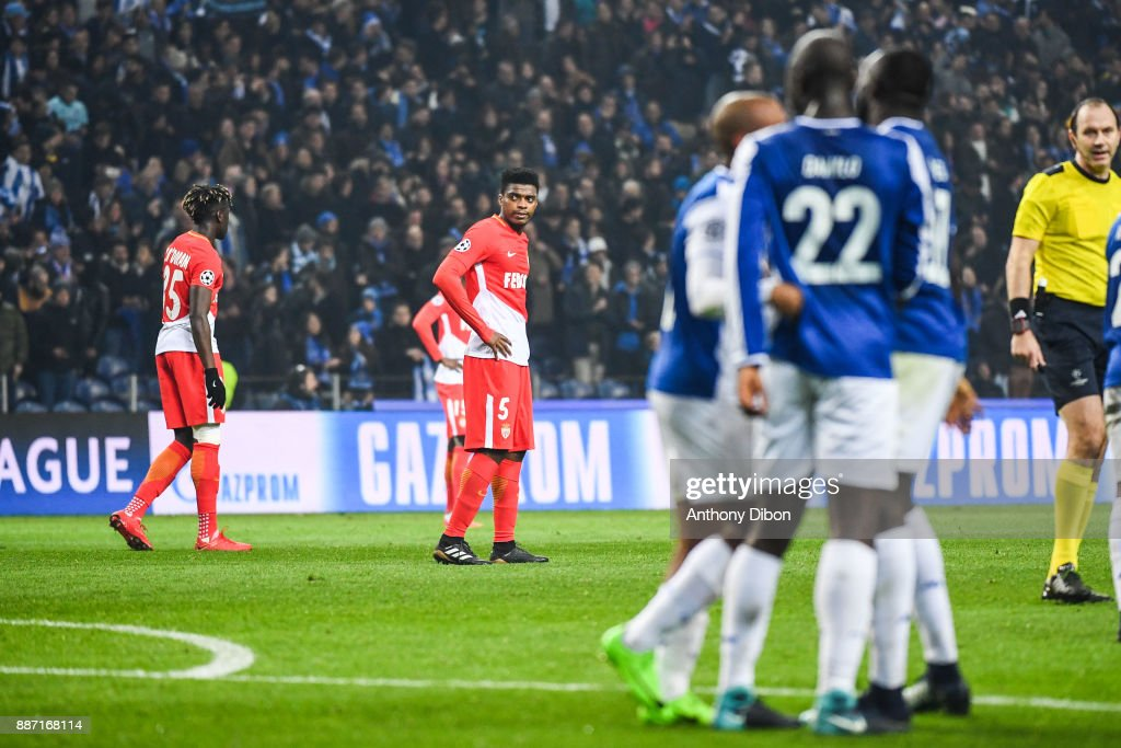 Jemerson of Monaco looks dejected during the Uefa Champions League match between Fc Porto and As Monaco at Estadio do Dragao on December 6, 2017 in Porto, Portugal.