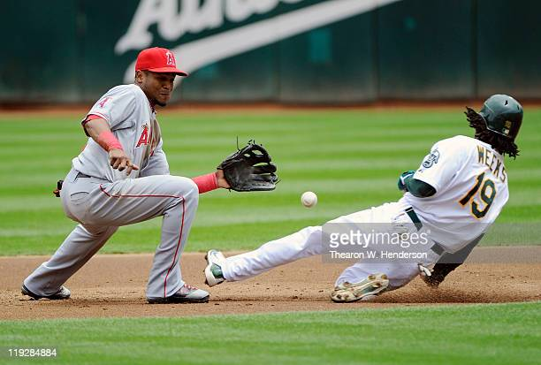Jemile Weeks of the Oakland Athletics steals second base as the ball gets pass Erick Aybar of the Los Angeles Angels of Anaheim in the first inning...