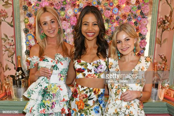 Jemima Cadbury Viscountess Emma Weymouth and Chantal Piper attend the launch of BeeBazaarcouk supported by PerrierJouet at Annabel's on May 1 2018 in...