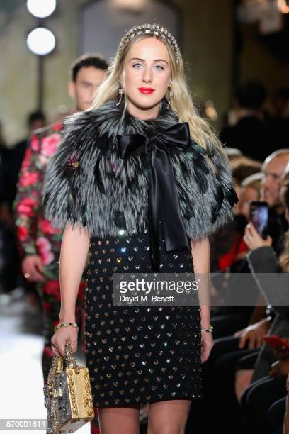 Jemima Cadbury walks the Dolce Gabbana Italian Christmas catwalk show at Harrods on November 2 2017 in London England