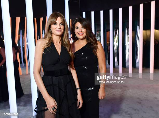 Jemima Goldsmith and Monica Lewinsky attend the 2020 Vanity Fair Oscar Party hosted by Radhika Jones at Wallis Annenberg Center for the Performing...