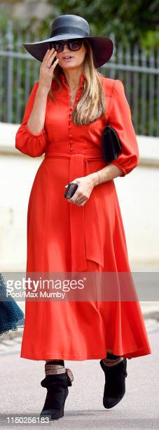 Jemima Goldsmith attends the wedding of Lady Gabriella Windsor and Thomas Kingston at St George's Chapel on May 18, 2019 in Windsor, England.