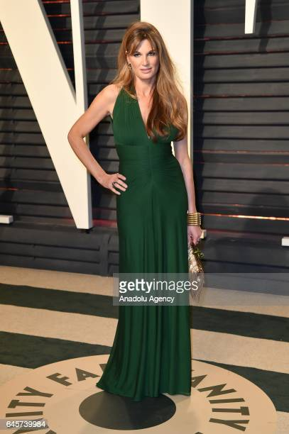 Jemima Goldsmith poses as she arrives at the Vanity Fair Oscar Party in Beverly Hills California Los Angeles on February 26 2017