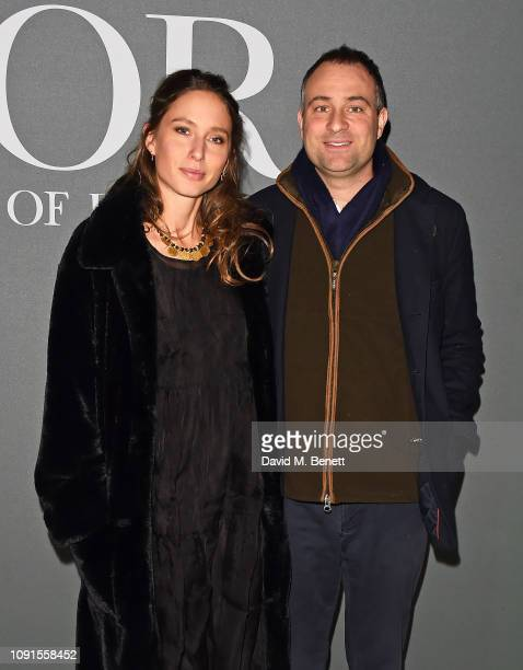 Jemima Jones and Ben Goldsmith attend a private view of the 'Christian Dior Designer of Dreams' exhibition at The VA on January 30 2019 in London...