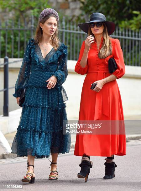 Jemima Jones and Jemima Goldsmith attend the wedding of Lady Gabriella Windsor and Thomas Kingston at St George's Chapel on May 18 2019 in Windsor...
