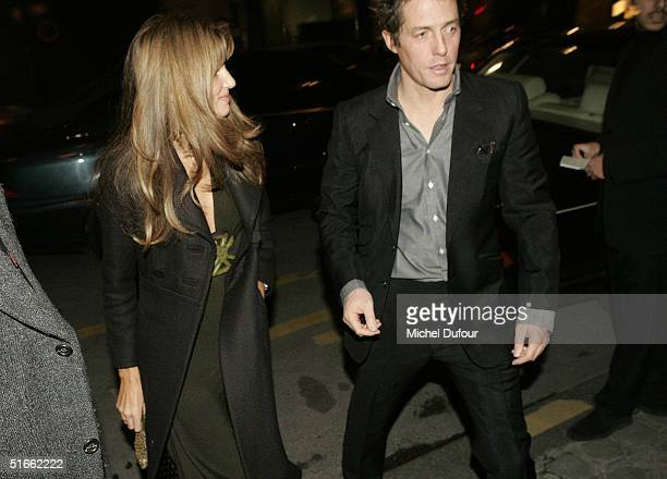 Jemima Khan and Hugh Grant arrive at the dinner at Chez Costes after the preview of Bridget Jones The Edge Of Reason November 3 2004 in Paris France