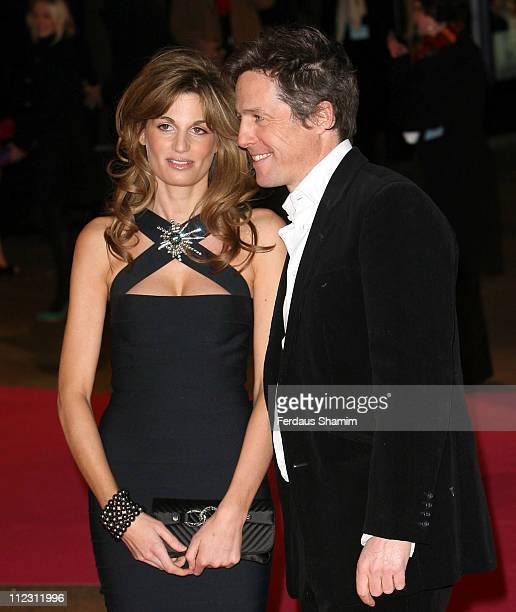 Jemima Khan and Hugh Grant during Music And Lyrics London Premiere Red Carpet Arrivals at Odeon Leicester Square in London Great Britain