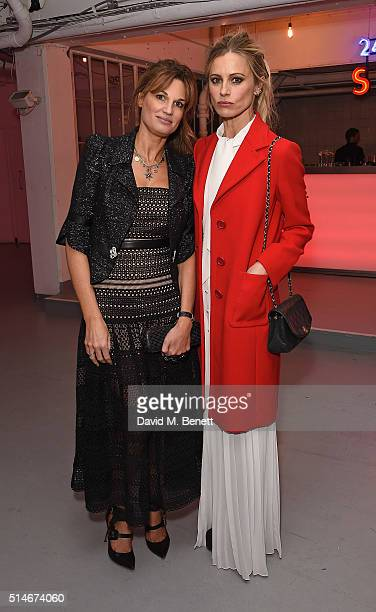 Jemima Khan and Laura Bailey attend the Soho Theatre Gala 2016 at The Vinyl Factory on March 10 2016 in London England