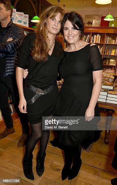 """Jemima Khan and Monica Lewinsky attend the launch of A.A. Gill's new book """"Pour Me: A Life"""" at Daunt Books on November 9, 2015 in London, England."""