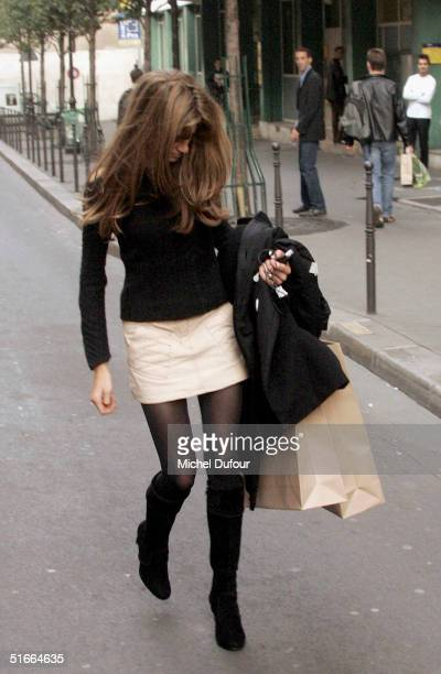 Jemima Khan is seen in Paris during a visit with Hugh Grant on Hugh's current promotional tour for Bridget Jones The Edge Of Reason on November 4...