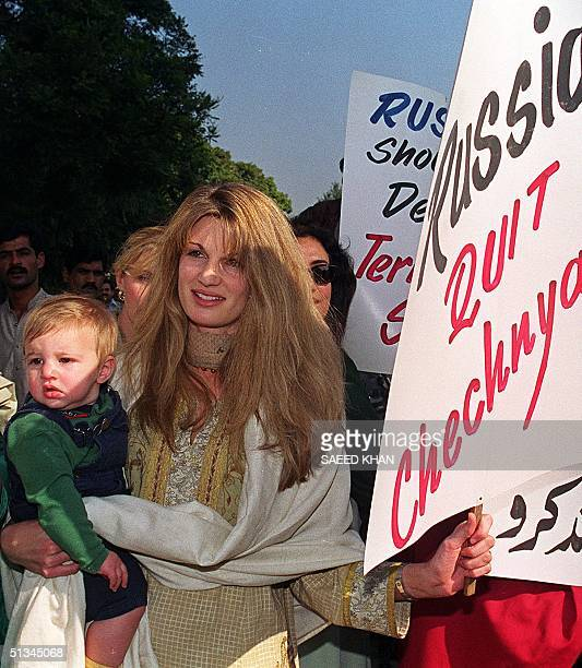 Jemima Khan wife of Pakistan's cricketer hero turned politician Imran Khan holding a placard during a protest rally against Russian aggression over...