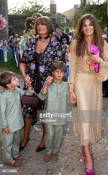 Jemima Khan With Her Sons Suleiman And Qasim And Her Mother Lady Annabel Goldsmith Attending The Marriage Of Her Brother At St Mary's Church