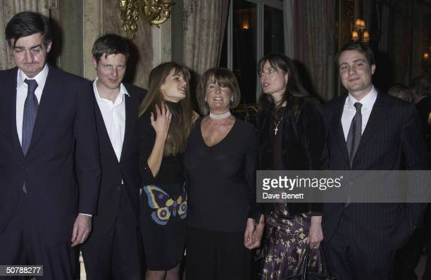 Jemima Khanwith India Burley Zac Robin Ben and Annabel Goldsmith at the book launch for her memoirs at the Ritz Hotel on 11th March 2004 in London