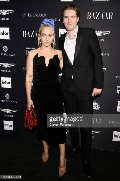 Jemima Kirke and Alex Cameron attend Harper's BAZAAR ICONS at The Plaza Hotel on September 7 2018 in New York City