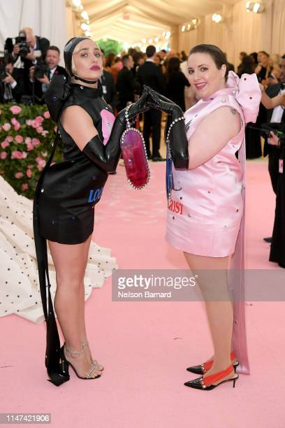 Jemima Kirke and Lena Dunham attend The 2019 Met Gala Celebrating Camp Notes on Fashion at Metropolitan Museum of Art on May 06 2019 in New York City